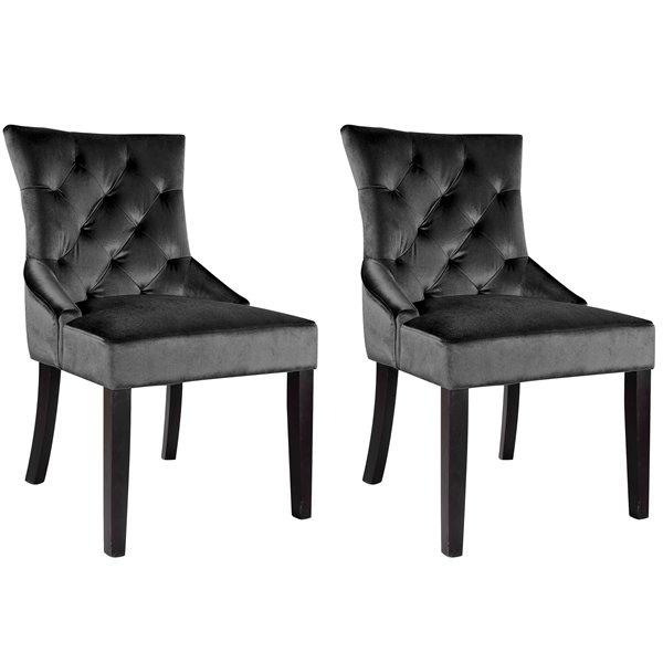 Prime Corliving Antonio Dark Grey Velvet Accent Chair Set Of 2 Pdpeps Interior Chair Design Pdpepsorg