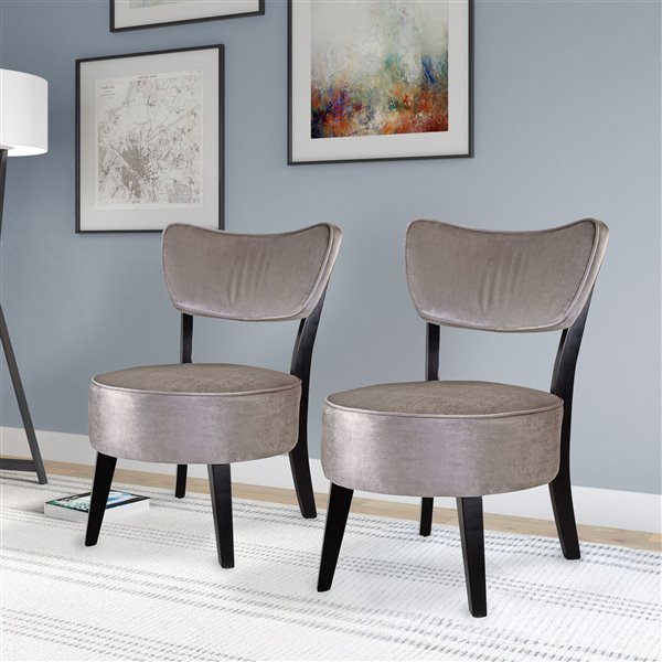 Fauteuils d'accent Antonio CorLiving, velours, gris, 2 mcx