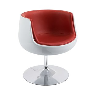 CorLiving Modern Bonded Leather Barrel Chair Red and White