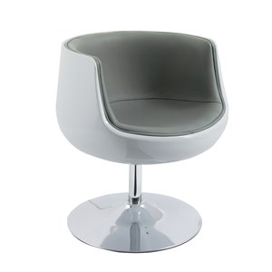 CorLiving Modern Bonded Leather Barrel Chair Grey and White