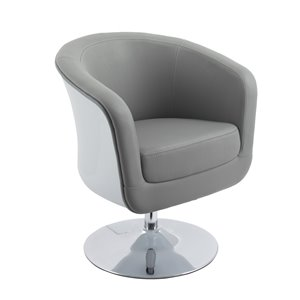 CorLiving Modern Bonded Leather Tub Chair Grey and White