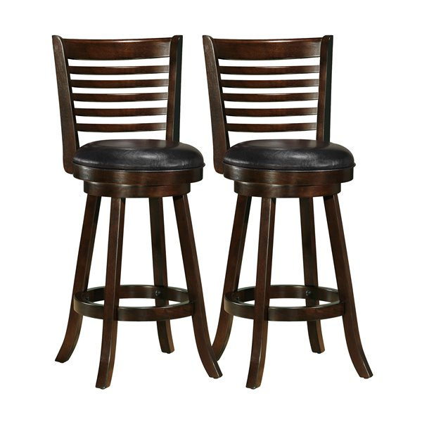 CorLiving Capuccino Brown Leather Seat Swivel Bar Stool (Set of 2)