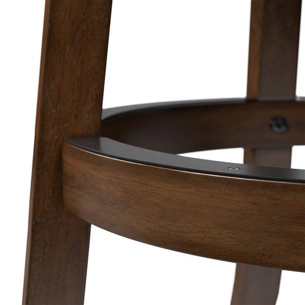 CorLiving Woodgrove Cream Leatherette Seat Swivel Bar Stool (Set of 2)