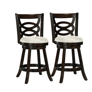 CorLiving Woodgrove Cream Leatherette Seat Swivel Counter Stool (Set of 2)