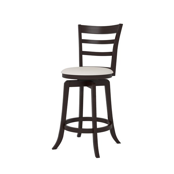 CorLiving Woodgrove Three Bar Design with White Seat Wooden Counter Stool