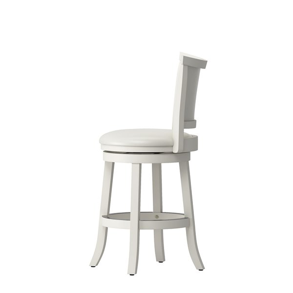 CorLiving Woodgrove White Wash Leatherette Counter Stool (Set of 2)