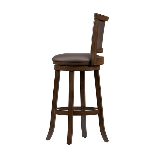 CorLiving Brown and Black Leather Seats Swivel Bar Stool (Set of 2)
