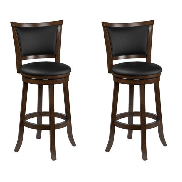 Tabourets à hauteur bar en cuir lié CorLiving, brun, 2 mcx