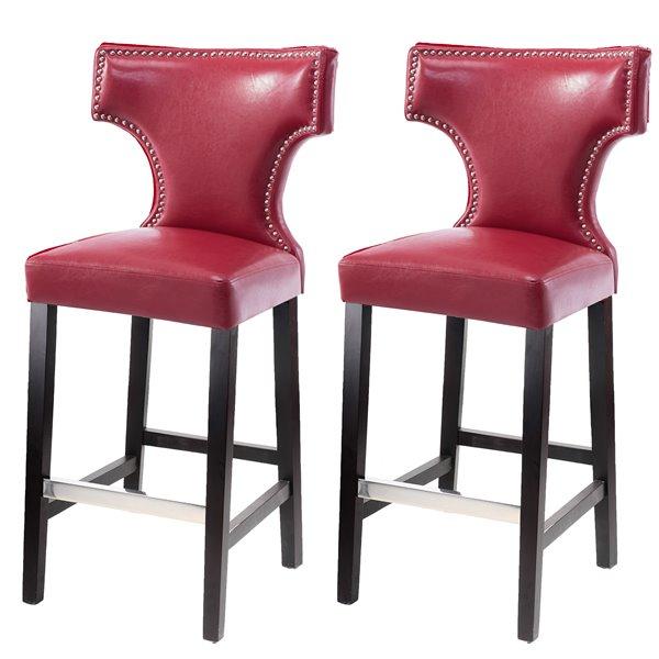 Tabourets de bar en cuir lié CorLiving, rouge, 2 mcx