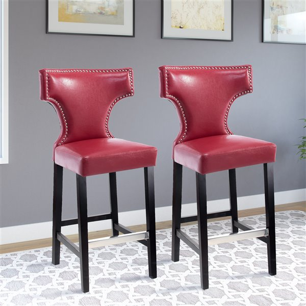 CorLiving Kings Red Bonded Leather Bar Stool with Metal Buttons (Set of 2)