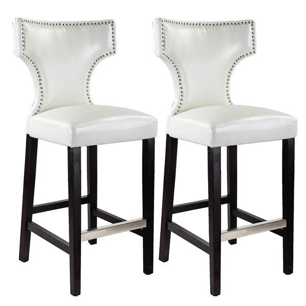 CorLiving Kings White Bonded Leather Bar Stool with Metal Studs (Set of 2)