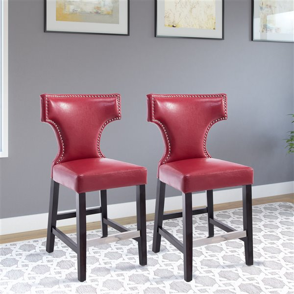 CorLiving Kings Red Bonded Leather Counter Stool with Metal Studs (Set of 2)