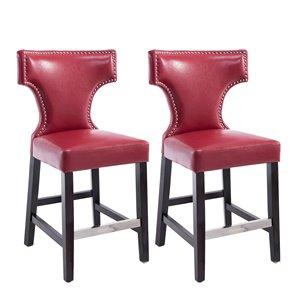 Tabourets de comptoir CorLiving, rouge, 2 mcx