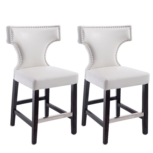 CorLiving Kings White Bonded Leather Counter Stool with Metal Studs (Set of 2)