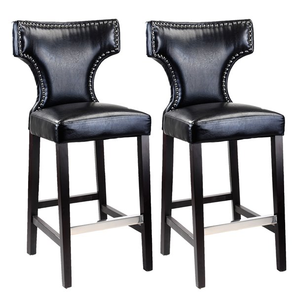 CorLiving Kings Black Bonded Leather Bar Stool with Metal Studs (Set of 2)