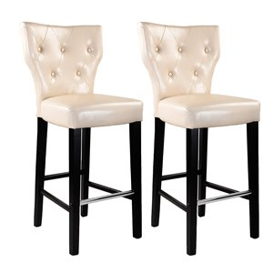 CorLiving Kings Cream Bonded Leather Bar Stool (Set of 2)