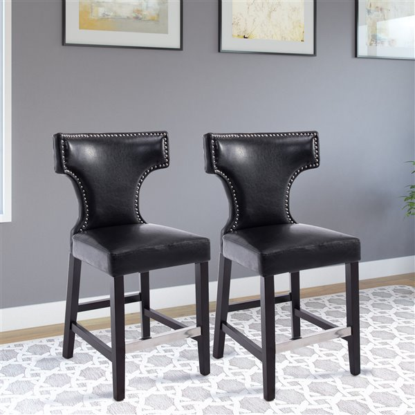CorLiving Kings Black Bonded Leather Counter Stool with Metal Studs (Set of 2)