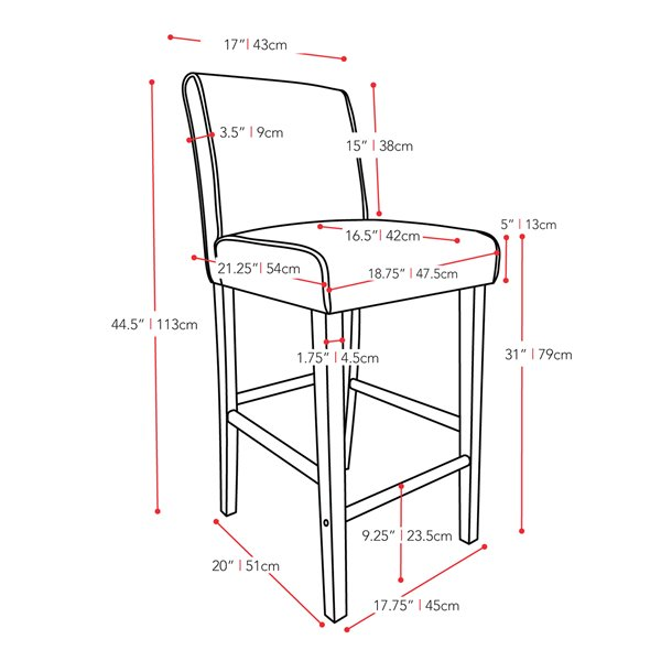 CorLiving Antonio Red Bonded Leather Bar Stool