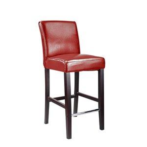 Tabouret de bar Antonio en cuir lié CorLiving, rouge