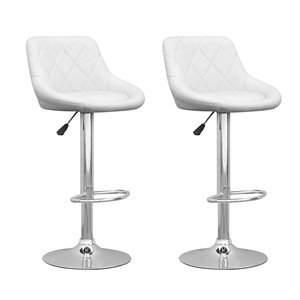 CorLiving White Diamond Tufted Leatherette Adjustable Bar Stool (Set of 2)