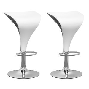 CorLiving White and Black Adjustable Bar Stool (Set of 2)