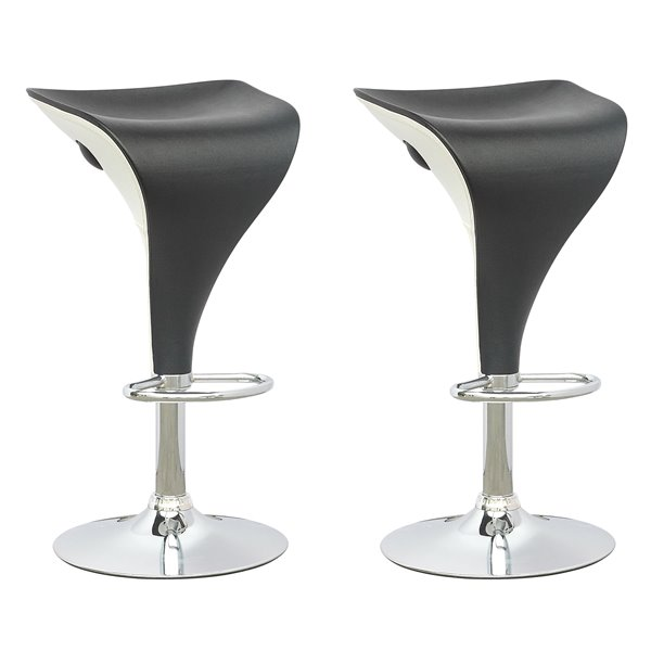 CorLiving Black and White Adjustable Bar Stool (Set of 2)