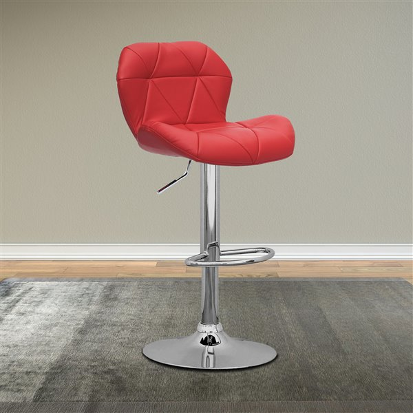 CorLiving Red Triangle Tufted Bonded Leather Adjustable Bar Stool (Set of 2)