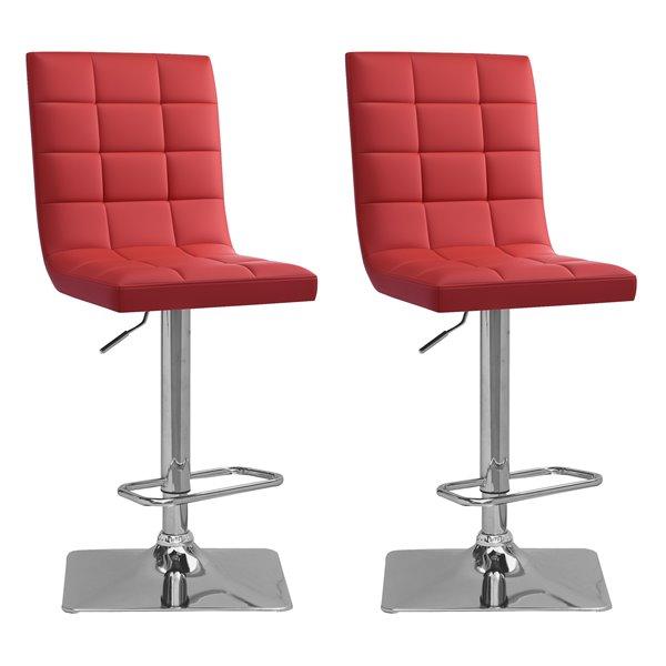 CorLiving Red Square Tufted Bonded Leather Adjustable Bar Stool (Set of 2)