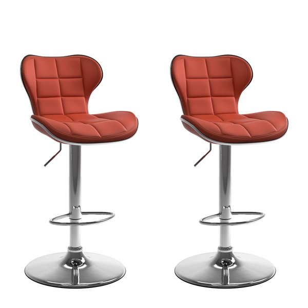 CorLiving Red Square Tufted Curved Bonded Leather Adjustable Bar Stool (Set of 2)