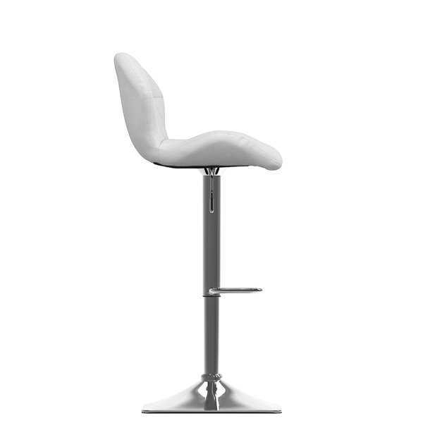 CorLiving White Diamond Tufted Bonded Leather Adjustable Bar Stool (Set of 2)