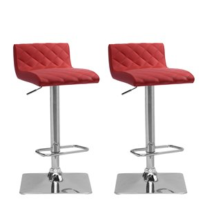 CorLiving Red Diamond Tufted Bonded Leather Adjustable Bar Stool (Set of 2)