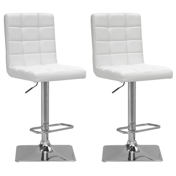 CorLiving White Square Tufted Bonded Leather Adjustable Bar Stool (Set of 2)