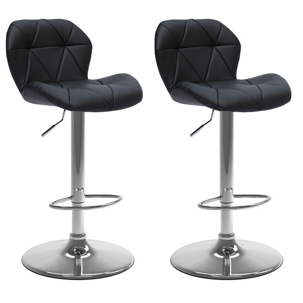 CorLiving Black Triangle Tufted Bonded Leather Adjustable Bar Stool (Set of 2)