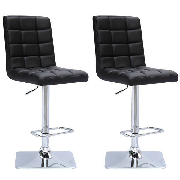 CorLiving Black Square Tufted Bonded Leather Adjustable Bar Stool (Set of 2)