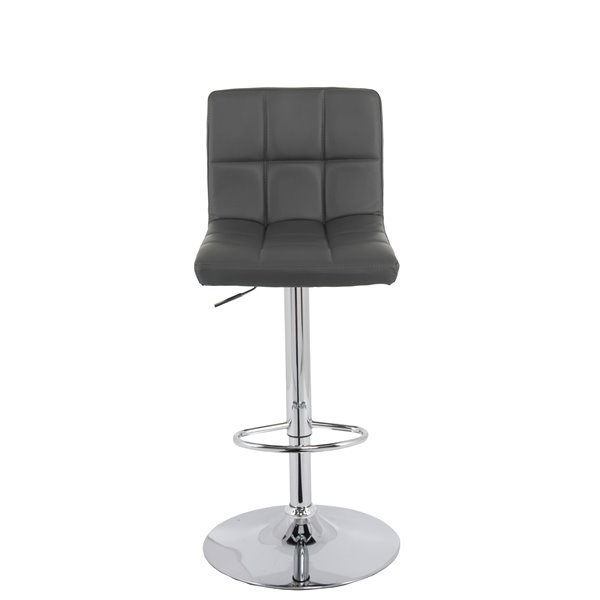 Phenomenal Corliving Dark Grey Square Tufted Leather Adjusted Bar Stool Machost Co Dining Chair Design Ideas Machostcouk