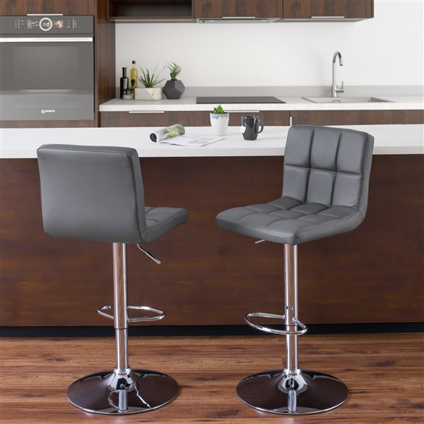 CorLiving Dark Grey Square Tufted Leather Adjusted Bar Stool (Set of 2)