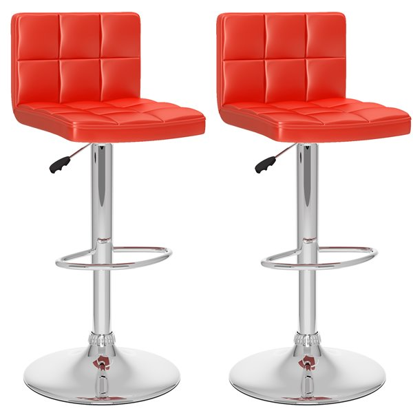 CorLiving Red Square Tufted Leatherette Adjustable Bar Stool (Set of 2)