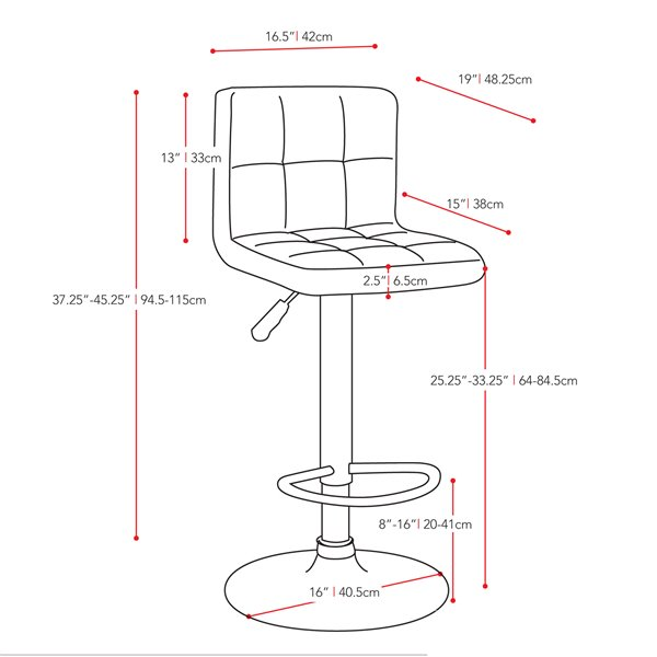 CorLiving White Square Tufted Leatherette Adjustable Bar Stool (Set of 2)
