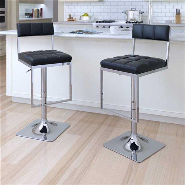 CorLiving Black Leatherette Square Tufted Adjustable Bar Stool (Set of 2)