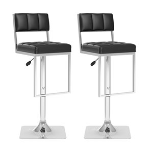CorLiving Black Leatherette Square Tufted Adjustable Bar Stool (Set of 2)