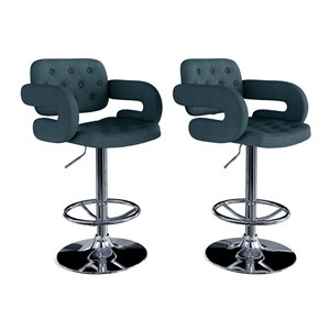 CorLiving Dark Blue Button Tufted Fabric Adjustable Bar Stool (Set of 2)