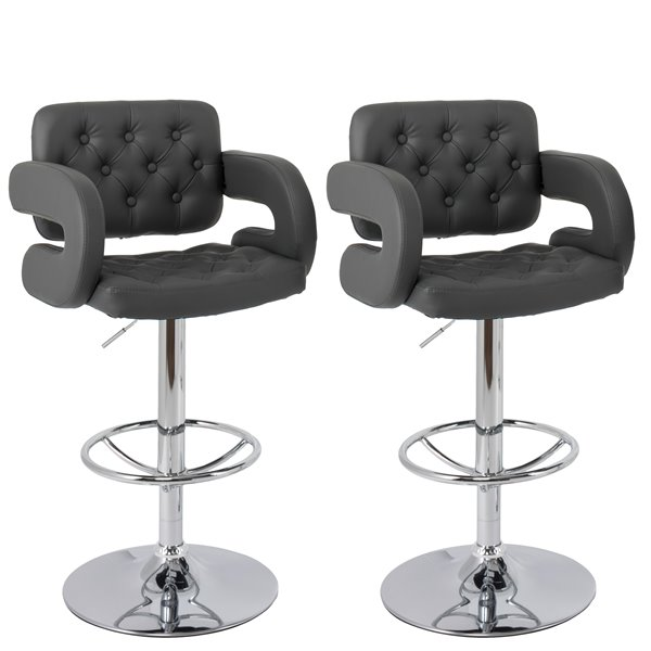 CorLiving Dark Grey Button Tufted Bonded Leather Bar Stool with Armrests (Set of 2)