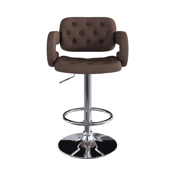 CorLiving Dark Brown Button Tufted Fabric Adjustable Bar Stool with Armrests (Set of 2)