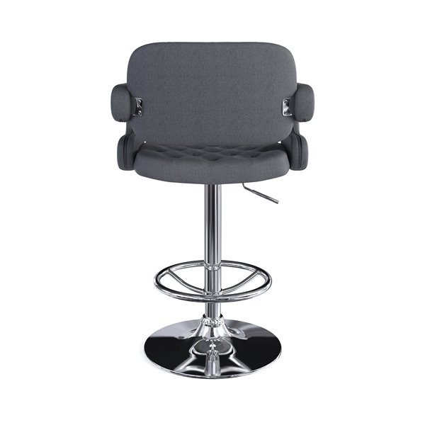 CorLiving Dark Grey Button Tufted Fabric Adjustable Bar Stool with Armrests (Set of 2)
