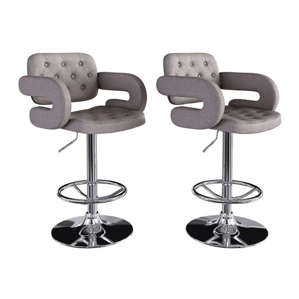 CorLiving Medium Grey Button Tufted Fabric Adjustable Bar Stool with Armrests (Set of 2)