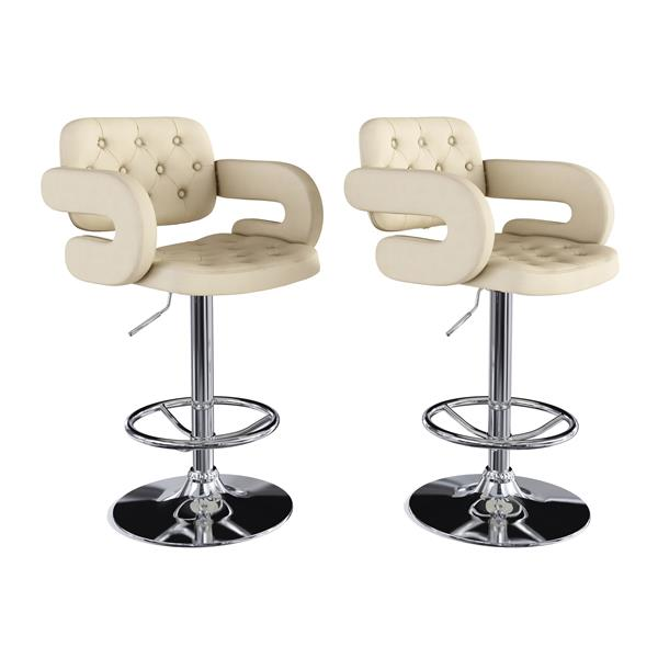 CorLiving Oatmeal Button Tufted Fabric Adjustable Bar Stool with Armrests (Set of 2)
