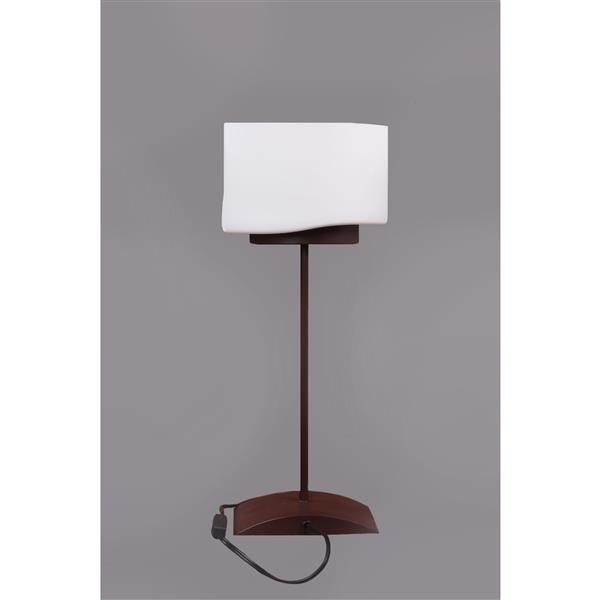 Lampe de table Pablo, abat-jour en verre blanc, bronze
