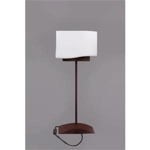 P.W. Design Pablo 19.50-in with Bronze Base and Milky Glass Shade Table Lamp