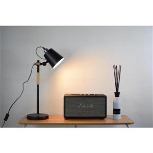 "Lampe de table Rita, abaj-jour en métal noir mat, 22"""