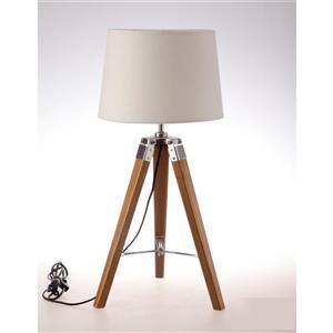"""Lampe de table trépied Tanya, abat-jour tissu crème, 25,6"""""""